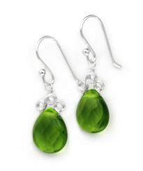 "Sterling Silver ""Crowne"" Briolette Crystal Drop Earrings, Green"