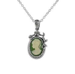 Flower Vine Resin Cameo Necklace, Green