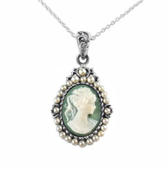 Pearls and Green Cameo Necklace