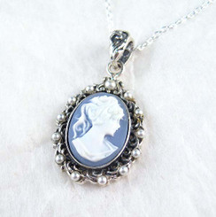 Pearl Halo Blue Cameo Necklace