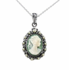 Pearl Halo Green Cameo Necklace