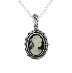 Sterling Silver Picture Frame Resin Cameo Necklace - Black