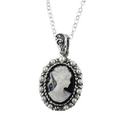 Sterling Silver Resin Cameo & Pearlized Beads Necklace - Black