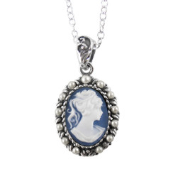 Sterling Silver Resin Cameo & Pearlized Beads Necklace - Blue
