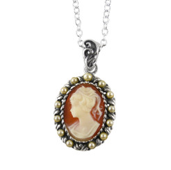 Sterling Silver Resin Cameo & Pearlized Beads Necklace, Salmon