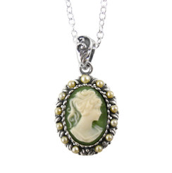 Sterling Silver Resin Cameo & Pearlized Beads Necklace - Green