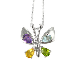 Sterling Silver Colorful Crystal Butterfly Pendant Necklace
