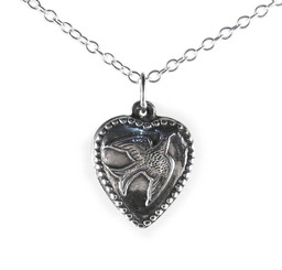 Sterling Silver Dove Heart Charm Necklace, 16""