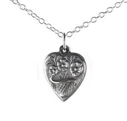 "Sterling Silver Flower Basket Heart Charm Necklace, 16"""