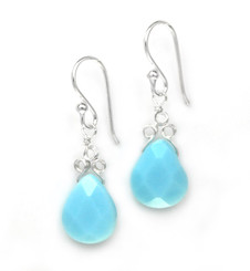 "Sterling Silver ""Crowne"" Briolette Crystal Drop Earrings, Sky Blue"