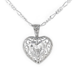 Sterling Silver Filigree Heart Crystal Pendant Necklace