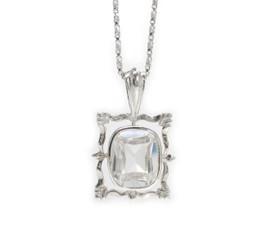 "Sterling Silver Ornate Frame Sparkling Crystal Pendant Necklace, 18"" Clear"