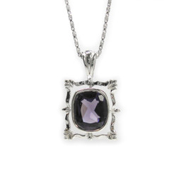 "Sterling Silver Ornate Frame and Crystal Pendant Necklace, 18"" Purple"