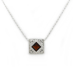 "Sterling Silver Crystal Square Wear Two Ways ""Kamila"" Necklace, 18"" Red"