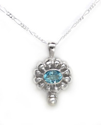"""Sterling Silver Stone Flower and Synthetic Pearl Accent Pendant Necklace, Aqua 18"""""""