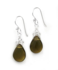 "Sterling Silver ""Crowne"" Briolette Crystal Drop Earrings, Smoke"