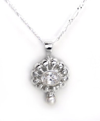 """Sterling Silver Stone Flower and Synthetic Pearl Accent Pendant Necklace, Clear 18"""""""