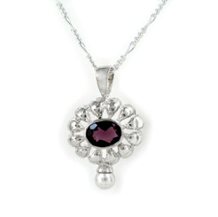 """Sterling Silver Stone Flower and Synthetic Pearl Accent Pendant Necklace, Purple 18"""""""