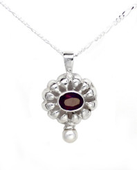 """Sterling Silver Stone Flower and Synthetic Pearl Accent Pendant Necklace, Red 18"""""""