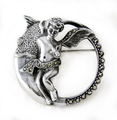 Sterling Silver Marcasite Angel Pin