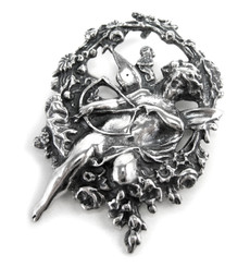 Sterling Silver Cupid Angel Brooch Pin