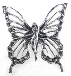 Sterling Silver Lady Butterfly Brooch Pin