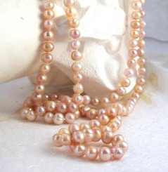 "Cultured Freshwater Pearl ""Endless"" Blush Necklace, 48"""