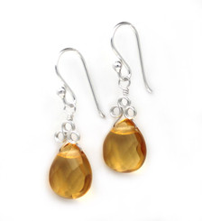 "Sterling Silver ""Crowne"" Briolette Crystal Drop Earrings, Yellow"