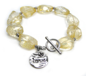 "Sterling Silver ""Love"" Charm Citrine Nuggets Toggle Bracelet, 8.5"""