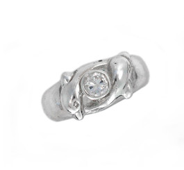 Sterling Silver Two Swimming Dolphins and Center Crystal Ring
