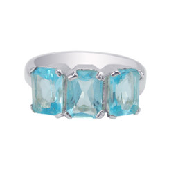 Sterling Silver Three Crystals Cocktail Ring, Aqua