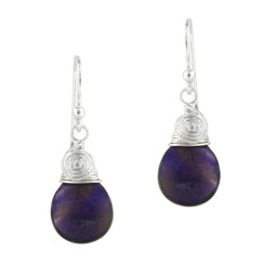 Briolette Stone Drop Coil and Spiral Wrapped Sterling Silver Earrings, Amethyst