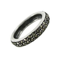 Sterling Silver & Marcasite Slim Band Ring