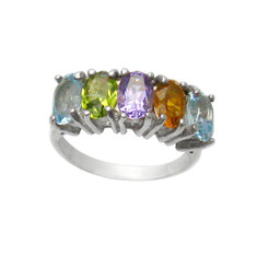 Sterling Silver Multi-Stone Colorful Gemstone Ring