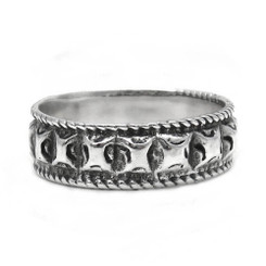 Sterling Silver Square Blocks Band Ring