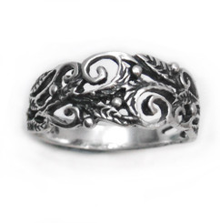 Organic Swirl and Vine Cutout Tapered Band Ring