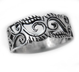 Ornate Swirl Vine Cutout Band Ring