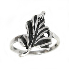 Sterling Silver Organic Leaf Ring