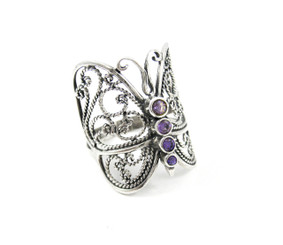 Sterling Silver Amethyst Butterfly Ring