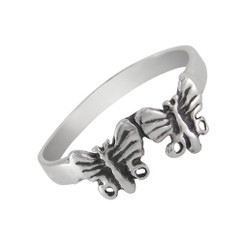 Sterling Silver Two Butterflies Ring Sized Toe Ring Finger Ring Midi Ring