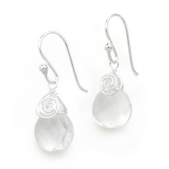 Briolette Crystal Drop Coil and Spiral Wrapped Sterling Silver Earrings, Clear