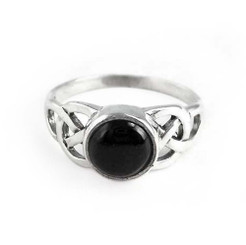 Sterling Silver Celtic Design Onyx Ring