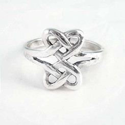 Sterling Silver Double Hearts Celtic Knot Ring
