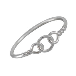Sterling Silver Triple Circle Twist Ring Sized Toe Ring Finger Ring Midi Ring