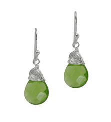 Briolette Crystal Drop Coil and Spiral Wrapped Sterling Silver Earrings, Spring Green