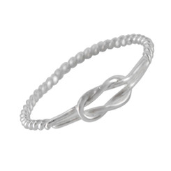 Sterling Silver Square Knot Twist Shank Ring Sized Toe Ring Finger Ring Midi Knuckle Ring