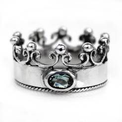 "Sterling Silver Crown with Cubic Zirconia ""Princess"" Ring, Aqua"