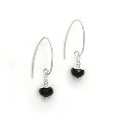 Sterling Silver Faceted Crystals on Cone Modern Hooks, Black