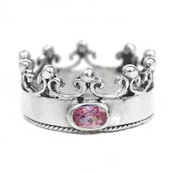 "Sterling Silver Crown with Cubic Zirconia ""Princess"" Ring, Pink"