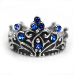 "Sterling Silver Crystal Crown ""Tiara"" Ring, Royal Blue"